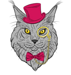 Funny maine coon cat hipster vector