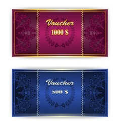 Voucher coupon template with border vector