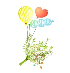 Colored balloons and bouquet happy summer sign vector