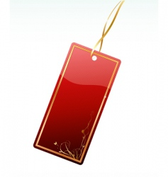Shiny red price tag vector