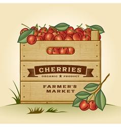 Retro crate of cherries vector
