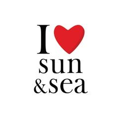 I love sun and sea icon vector