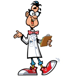 Happy cartoon professor scientist vector