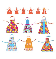 Aprons cooking set with patterns vector