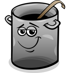 Pot or pan with ladle cartoon vector