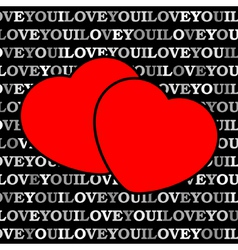 Two red hearts in front of a black background vector