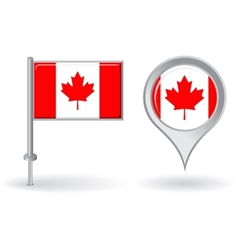 Canadian pin icon and map pointer flag vector