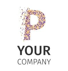 Alphabet particles logotype letter-p vector
