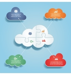Infographic report template with clouds and icons vector