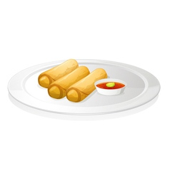 Bread roll and sauce vector