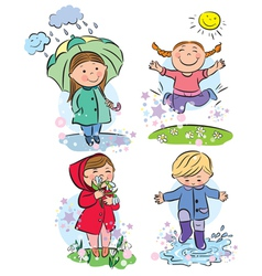 Spring children vector