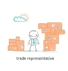 Trade representative is standing with boxes of vector