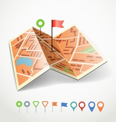 Folded abstract city map vector