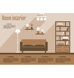 Brown living room interior vector