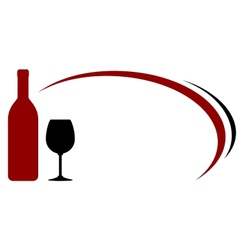 Background with red wine bottle and glass vector