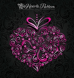 Pink heart pattern on black backround vector