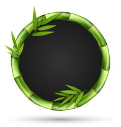Bamboo grass circle frame with leafs isolated on vector