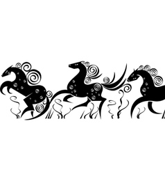 Stylized silhouettes of running horses vector