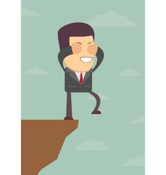 Businessman walks off a cliff vector