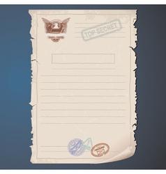 Old top secret document vector