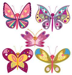 Kawaii butterflies vector