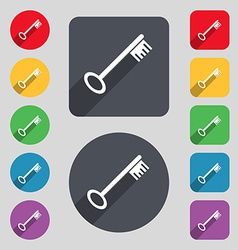 Key icon sign a set of 12 colored buttons and a vector