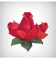 Geometric origami paper modern 3 roses vector