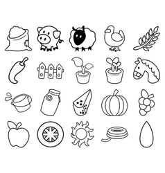 Agricultural outline set vector