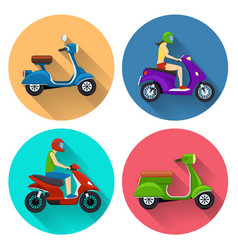 Scooter transport flat icons vector