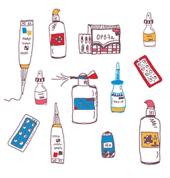 Pills and medical bottles vector