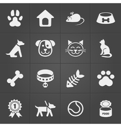 Cute pet icons on black vector