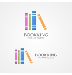 Logo with a colored books vector