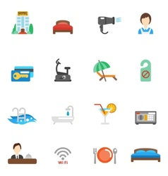 Hotel flat icon set vector