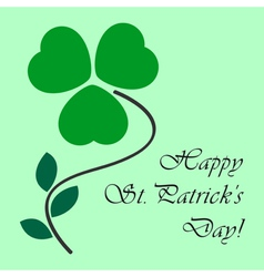 St patricks card with shamrock and text vector