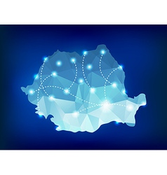 Romania country map polygonal with spot lights vector
