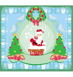 Christmas greeting card - funny santa claus vector