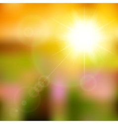 Summer background with sun burst with lens flare vector