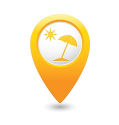 Beach icon yellow map pointer vector