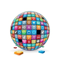 Abstract sphere with application icons image vector