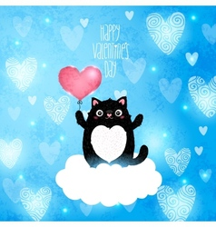 Happy valentines day card with cat vector
