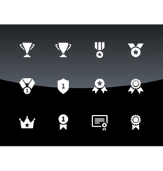 Trophy icons on black background vector
