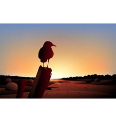 A sunset view of the desert with a big bird vector