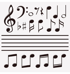 Icons set music note vector