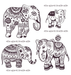 Set of hand drawn ethnic elephants vector