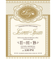 Vintage frame wedding invitation card background vector