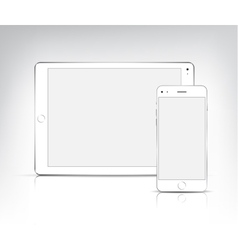 White tablet pc and phone vector