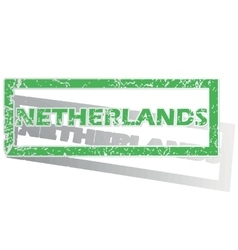 Green outlined netherlands stamp vector