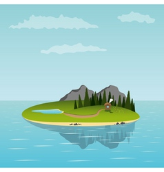 Island in the sea vector