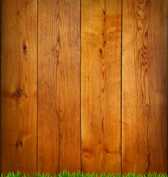 Background from oak boards with green grass vector