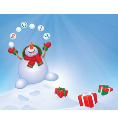 Snowman winter gifts vector